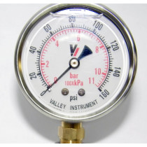 "Valley Industries 2 1/2"" Dual Scale Liquid-Filled SS Industrial Gauge; 0-160 PSI (2140GXB160)"