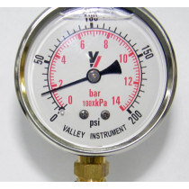 "Valley Industries 2 1/2"" Dual Scale Liquid-Filled SS Industrial Gauge; 0-200 PSI (2140GXB200)"