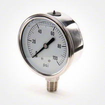 "Valley Industries 2 1/2"" Stainless Steel Gauge (Model 54)"