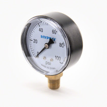 "Hypro SG Series Gauge; 1/4"" LM Stem, 2 1/2"" Dial, 0-100PSI"