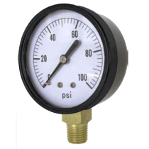 "Valley Industries 2 1/2"" Single Scale Service Gauge; 0-100 PSI (2124DAB100)"