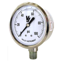 "Valley Industries 2 1/2"" All Stainless Steel Liquid-Filled OEM Gauge; 0-200 PSI (2154GXX200)"