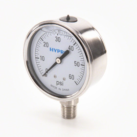 "Hypro Stainless GG Series Gauge; 1/4"" LM Stem; 2 1/2"" Dial, 0-60PSI"