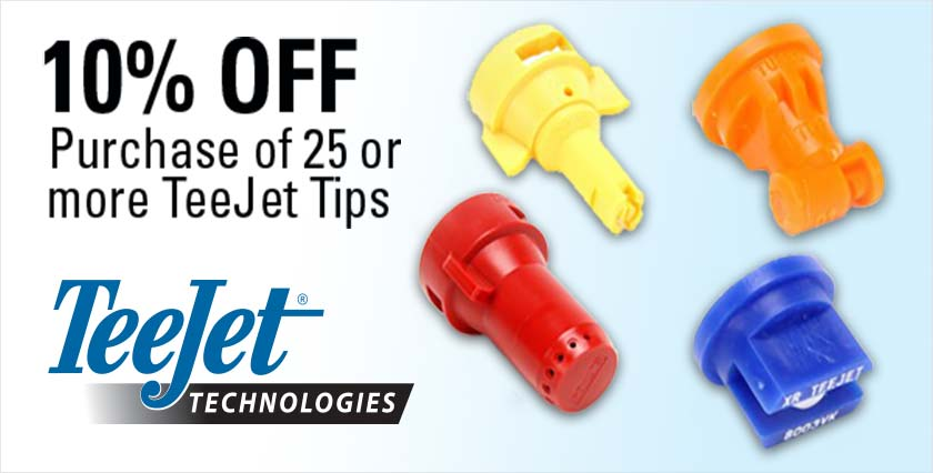 Save 10% on order of 25 or more TeeJet Spray Tips & Nozzles